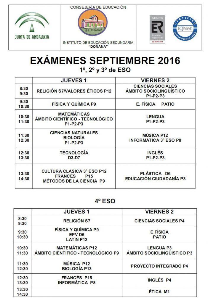 Calendario de exámenes – Septiembre 2016
